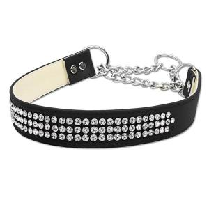 Martingale 3 Row Crystal Dog Collar - Black | The Pet Boutique