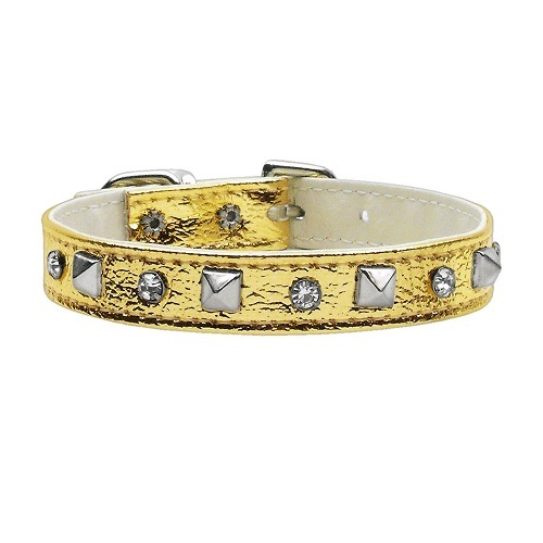 Metallic Crystal and Pyramid Dog Collar - Gold | The Pet Boutique