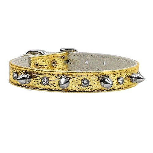Metallic Crystal and Spike Dog Collar - Gold   The Pet Boutique
