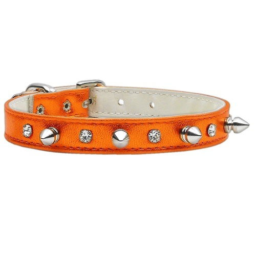 Metallic Crystal and Spike Dog Collar - Orange   The Pet Boutique