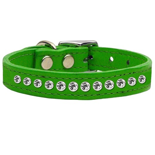 One Row Clear Jeweled Leather Dog Collar - Emerald Green | The Pet Boutique