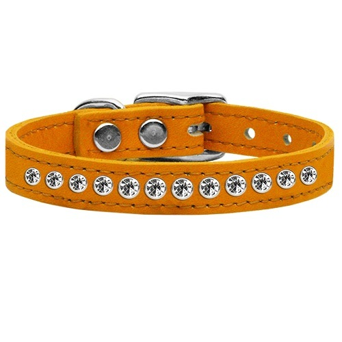 One Row Clear Jeweled Leather Dog Collar - Mandarin | The Pet Boutique