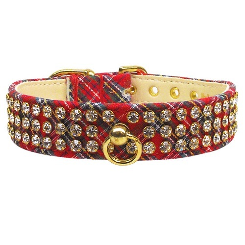 Plaid Dog Collar #73 - Red   The Pet Boutique