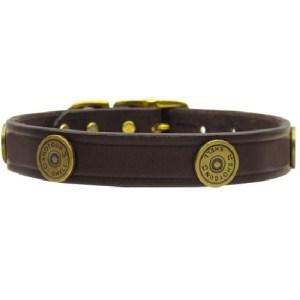 Shotgun Shell Leather Dog Collar - Burgundy | The Pet Boutique