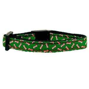 Candy Cane Bones Nylon and Ribbon Cat Safety Collar | The Pet Boutique