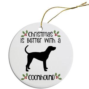 Round Christmas Ornament - Coonhound   The Pet Boutique