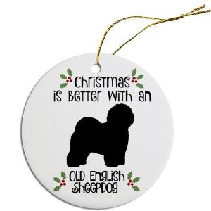 Round Christmas Ornament - Old English Sheepdog   The Pet Boutique