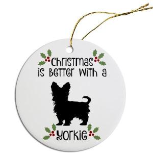 Round Christmas Ornament - Yorkie | The Pet Boutique