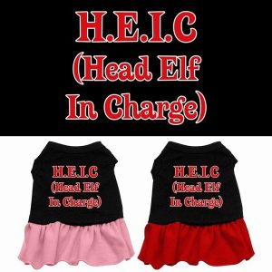 Head Elf in Charge Screen Print Pet Dress | The Pet Boutique