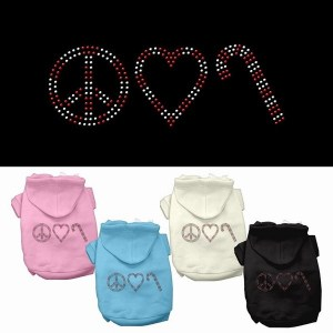 Peace, Love and Candy Canes Rhinestone Pet Hoodie | The Pet Boutique