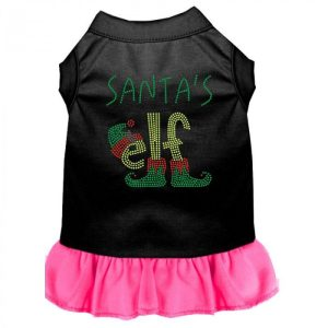 Santa's Elf Rhinestone Dog Dress - Color Combo - Black with Bright Pink | The Pet Boutique