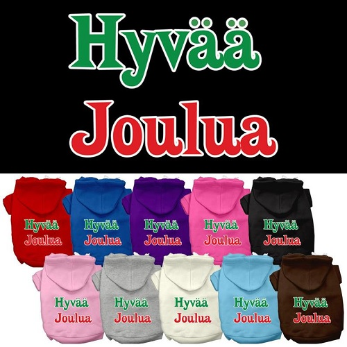Hyvaa Joulua Screen Print Pet Hoodie | The Pet Boutique