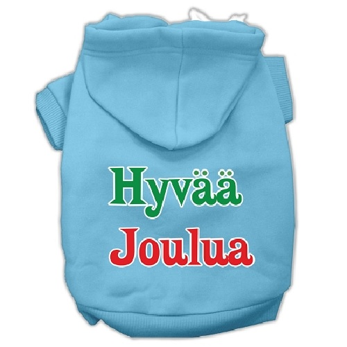 Hyvaa Joulua Screen Print Pet Hoodie - Baby Blue | The Pet Boutique