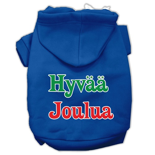 Hyvaa Joulua Screen Print Pet Hoodie - Blue | The Pet Boutique