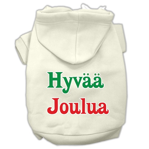 Hyvaa Joulua Screen Print Pet Hoodie - Cream | The Pet Boutique
