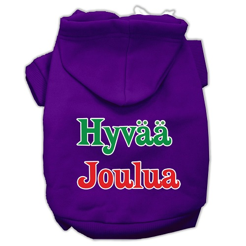 Hyvaa Joulua Screen Print Pet Hoodie - Purple | The Pet Boutique