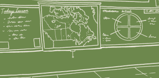 An illustration in white lines on a green background. It shows a classroom, with a map of the land we know as Canada on the wall.