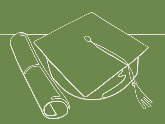 An illustration in white lines on a green background. It shows a graduation cap and diploma.