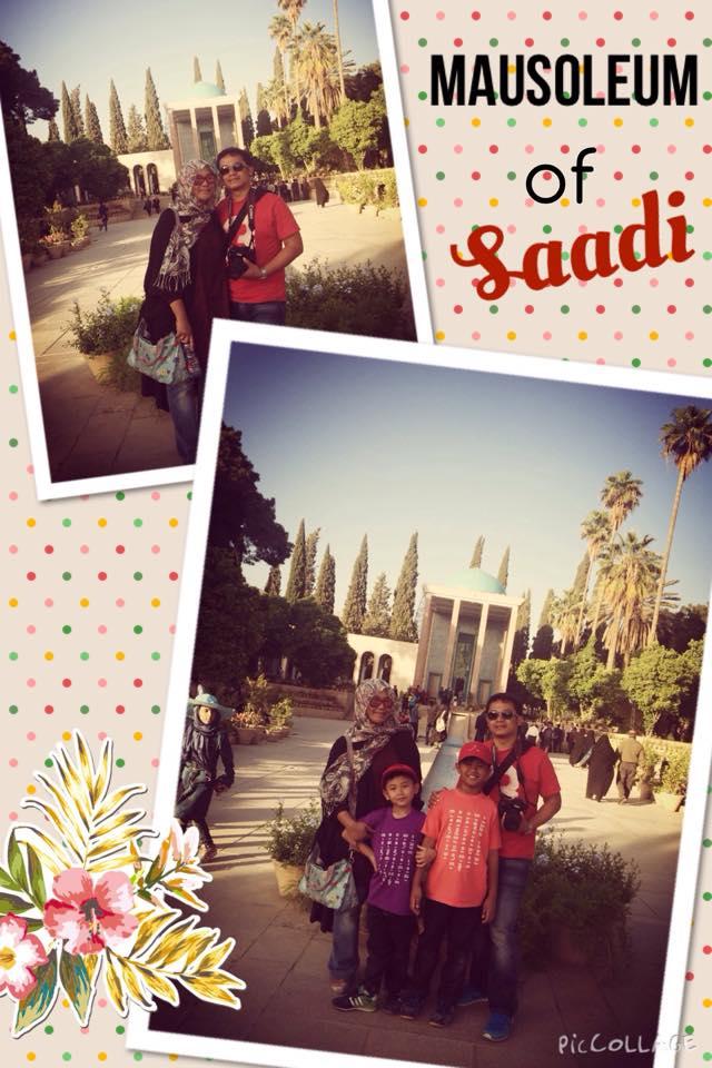 Mausoleum of Saadi. Juga seorang pujangga yang begitu jatuh cinta pada kota Shiraz, ia tidak ingin pergi dari kota ini.