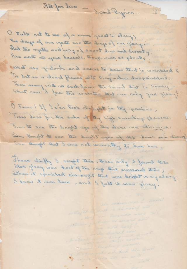 "A photograph of the hand copy made by the author's friend of Byron's ""All for Love"""