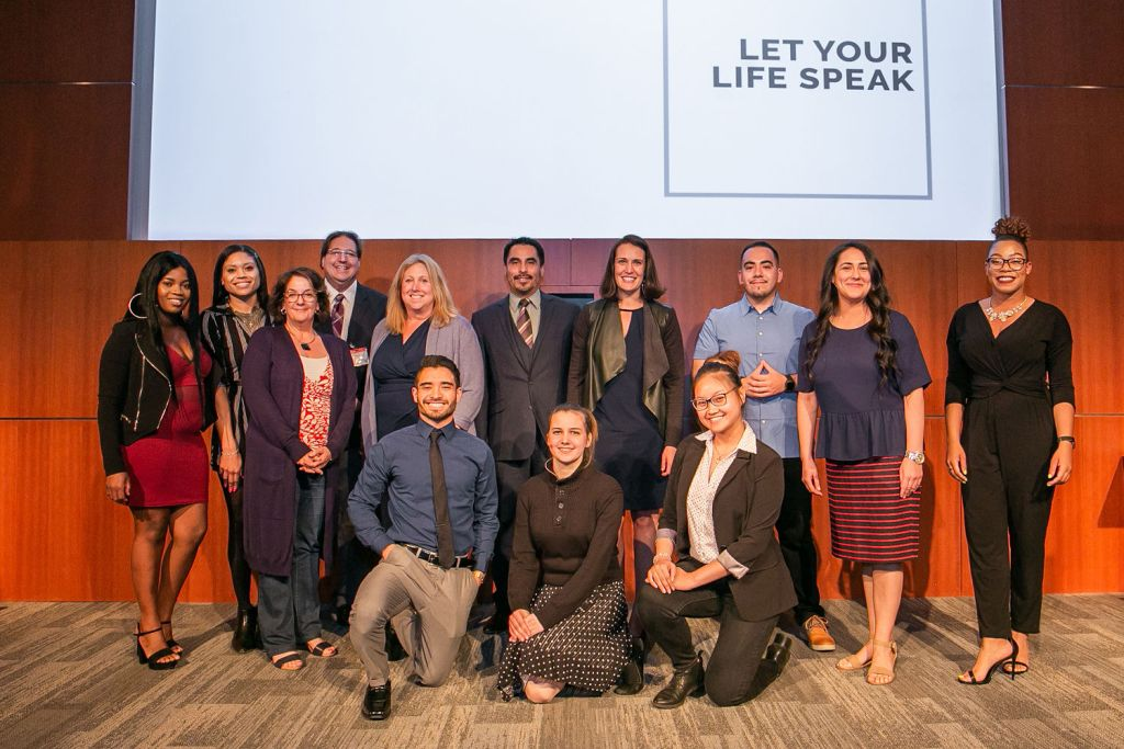 Communication studies students, faculty, and Adobe representative Margaret Brown at the Let Your Life Speak Event in 2019.
