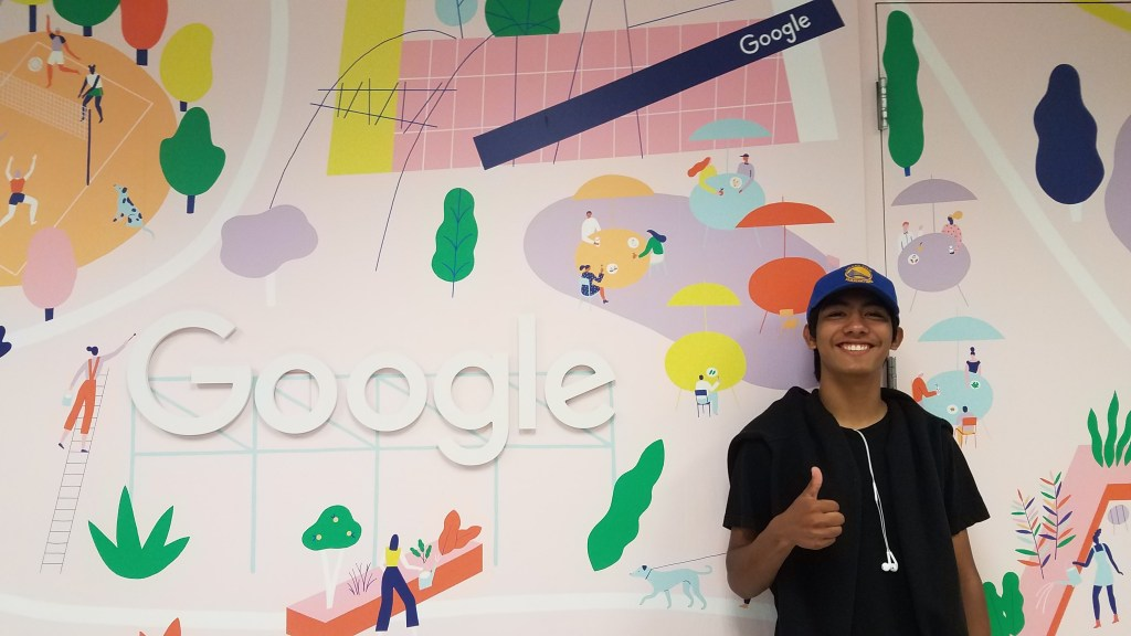 San José City College supports Latinx education. Here, a METAS student poses at the Google Headquarters in Mountain View, California.