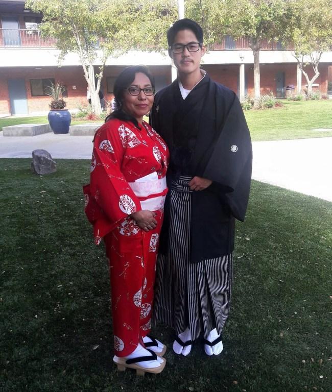 Maria and her husband, Takamitsu Kawaura, wearing traditional Japanese clothing and representing Osaka, Japan, for International Day with the International Club