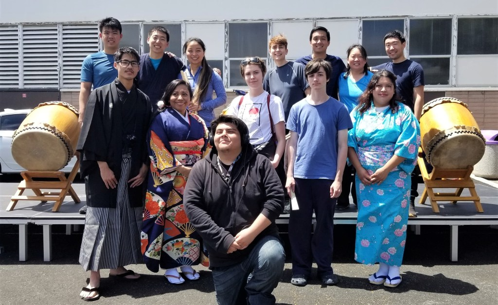 Japanese Spring Festival held May 8, 2018 with the Nihon-Kai board members and the San Jose Taiko drummers. Maria is second from the left standing in the front row.