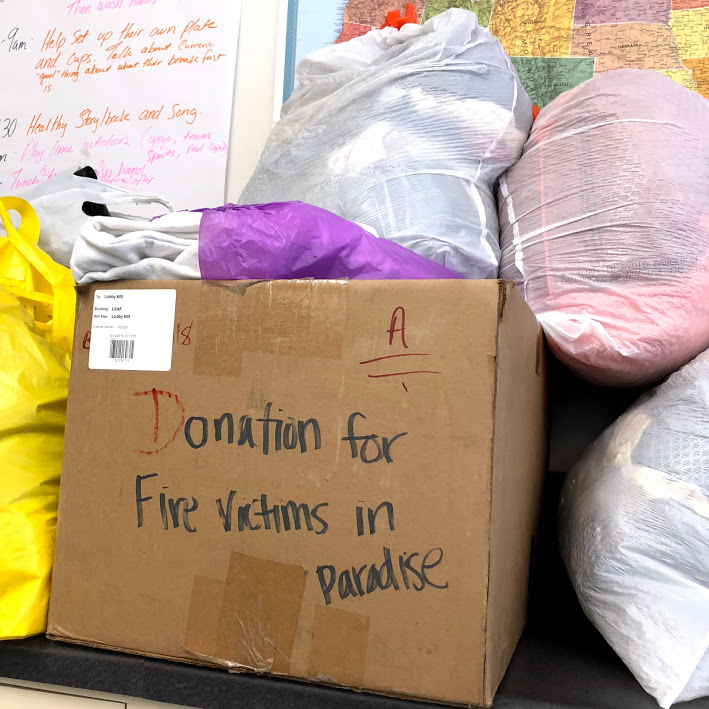 Donations for the victims of the 2018 Paradise Fire as part of a sociology class project.