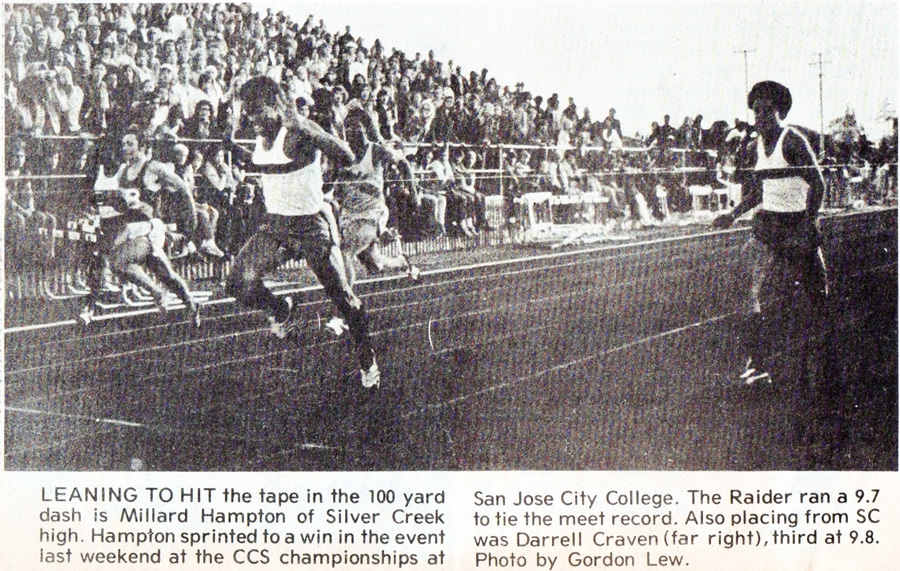Silver Creek HS Sophomore Hampton in 100yd dash race held at SJCC