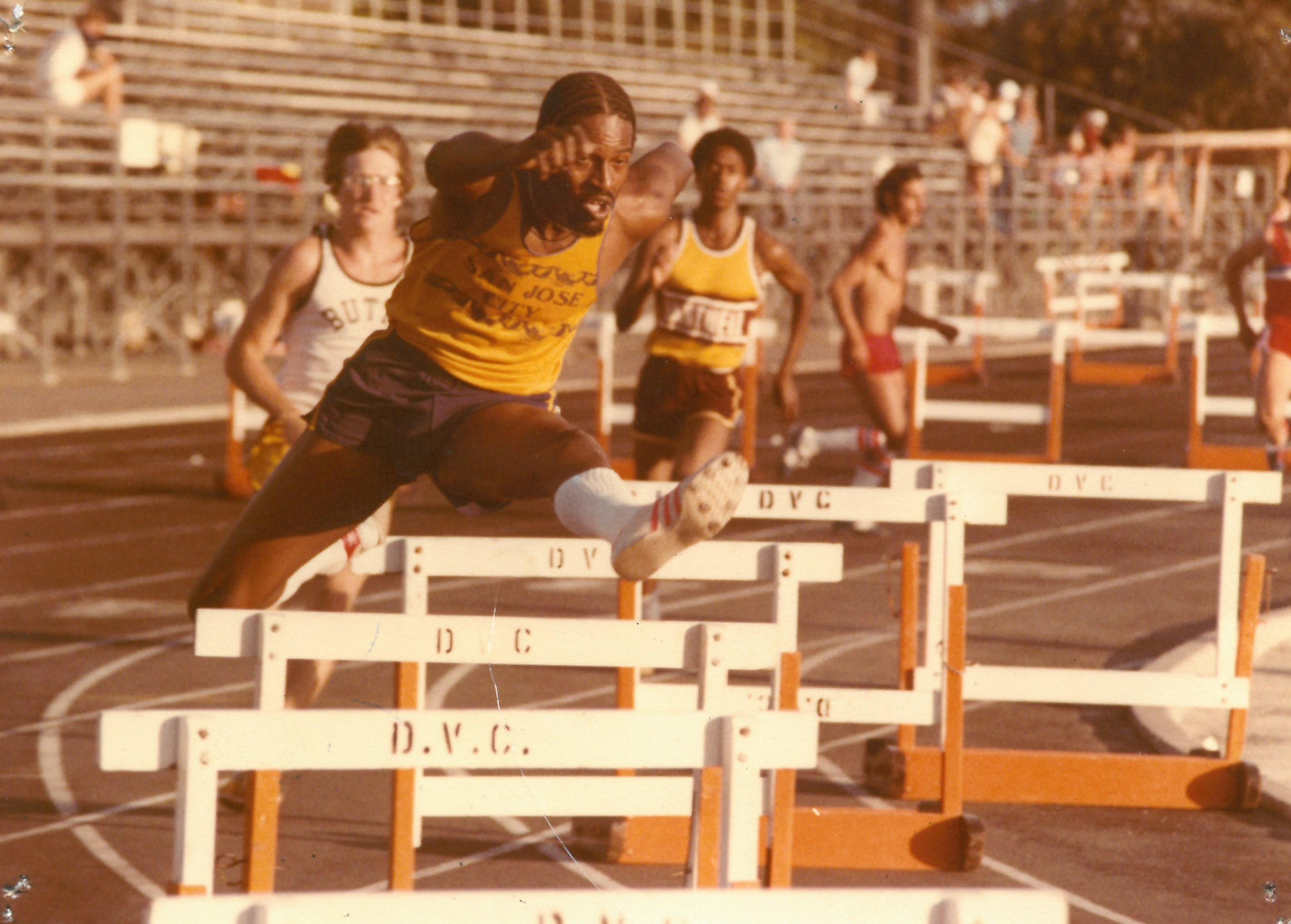 Phillips in track meet against Diablo Valley College in 400m Hurdles