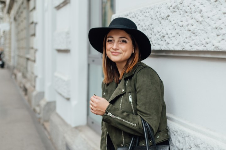 First autumn outfit / green faux suede biker jacket