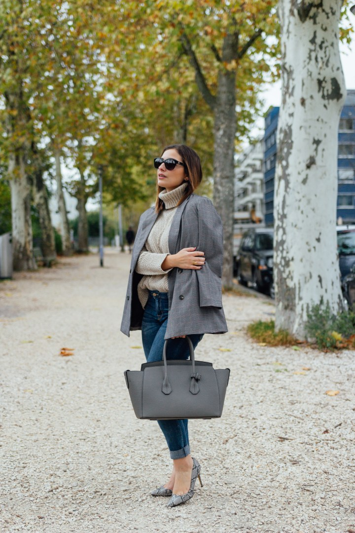 Grey Bally bag and checked blazer by Clarissa C.