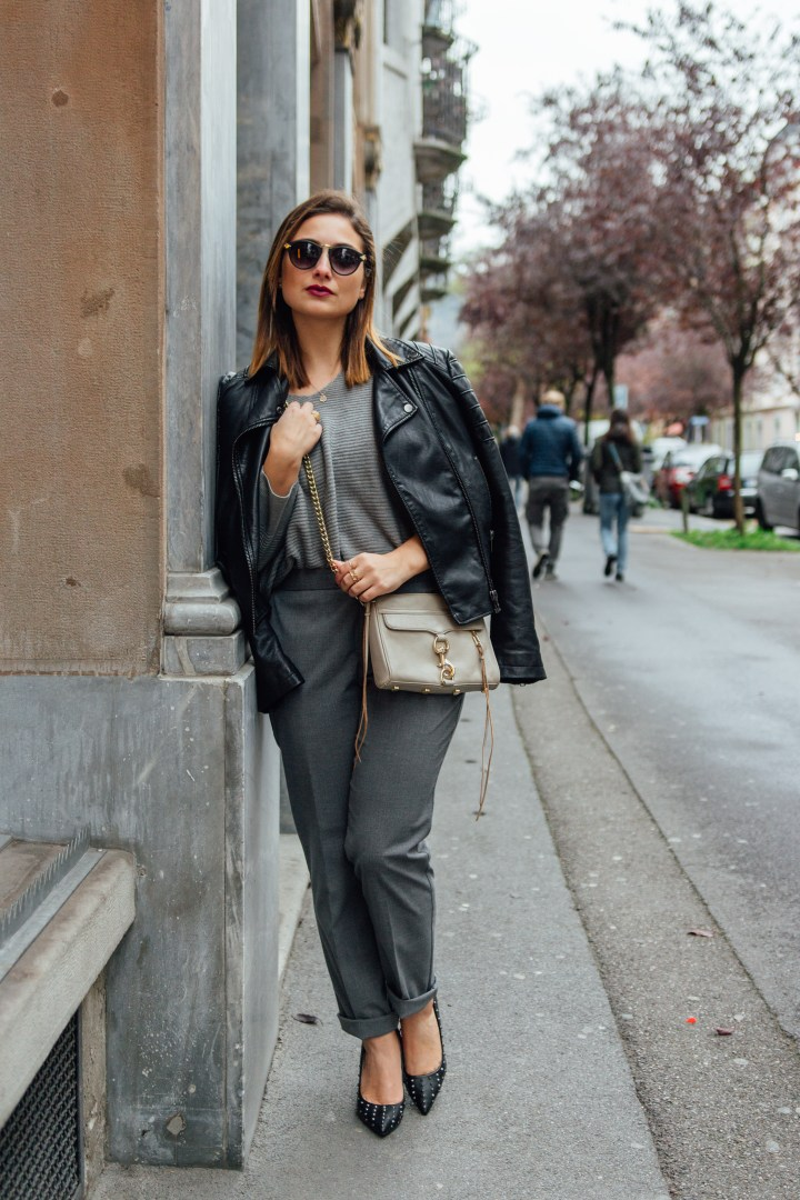 Grey suit pants with high heels and red lips