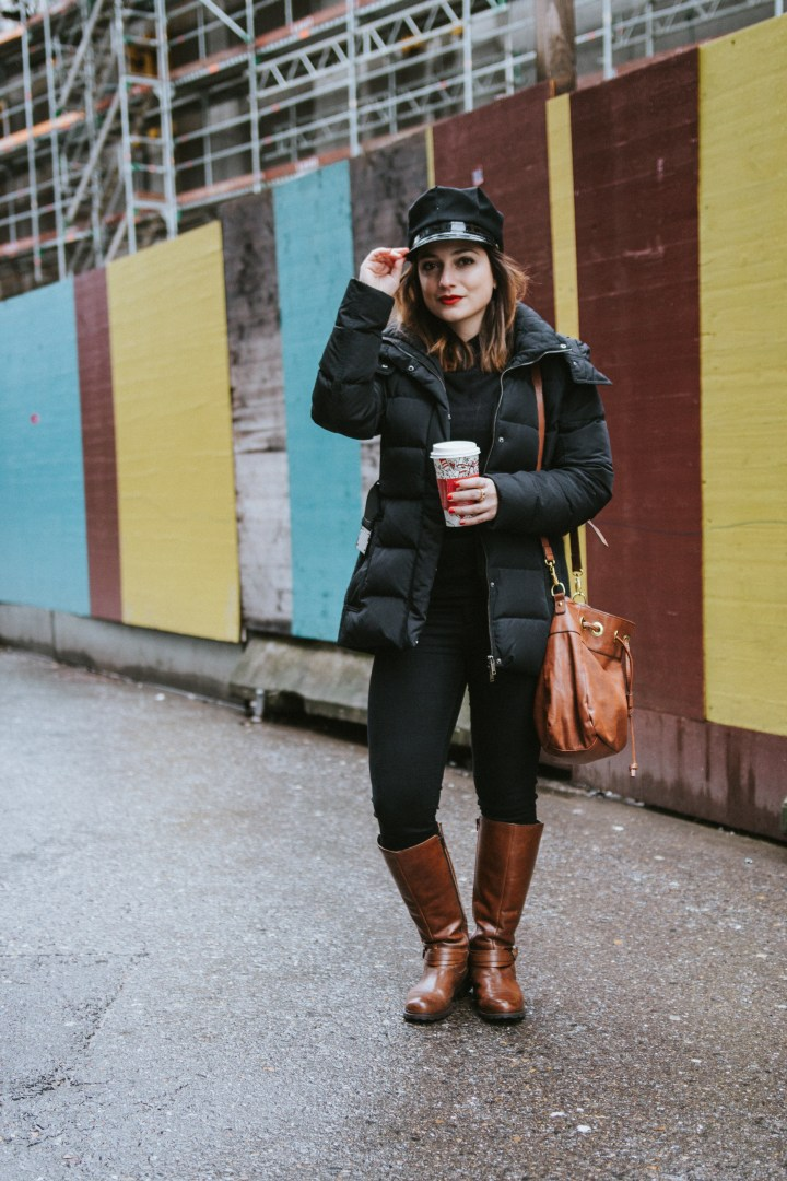 Winter outfit with brown boots and brown bag