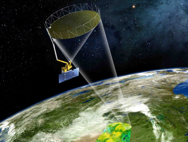 A model of the SMAP (Soil Moisture Active Passive) satellite which will scan the Earth's top soil (photo: NASA)