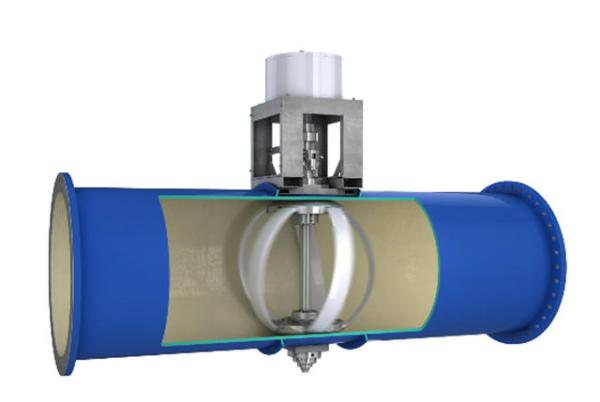 Lucid's water pipes are equipped with turbines to harvest power from the water flow (photo: LucidEnergy)