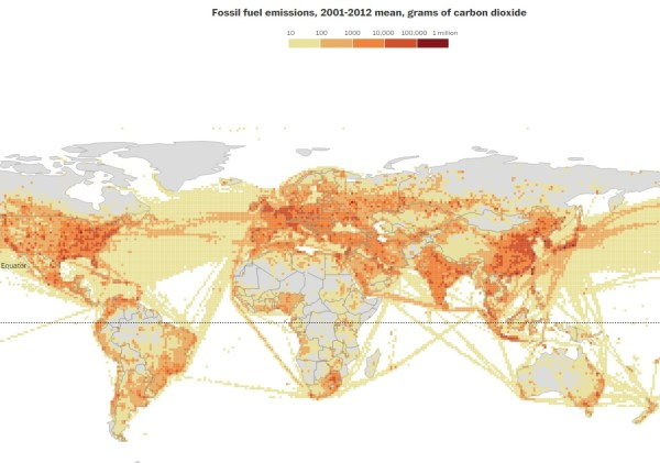A mapping of the carbon dioxide in Earth's atmosphere reveals cargo ships' routes (map: Kennedy Elliott)