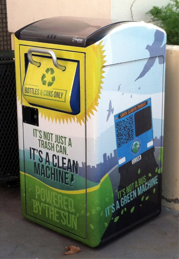 The BigBelly is a solar-powered and smart waste bin, revolutionising waste collection in cities and campuses (photo: city of Santa Clarita)