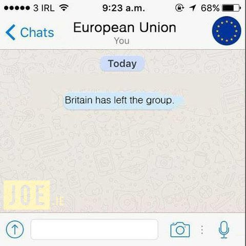 At least the internet had a good laugh about the Brexit referendum. Soon memes popped up (source: unknown)
