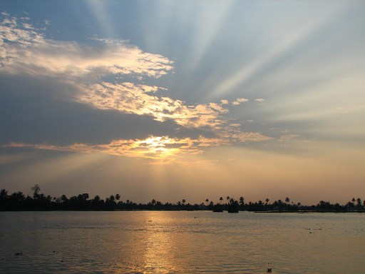 Kerala, backwaters, sunset, cochin