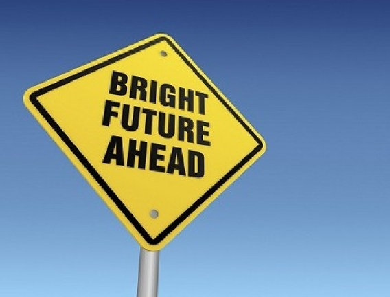 Bright future ahead sign road sign on white bg