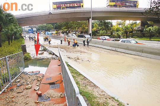 黃竹坑爆水管癱瘓南區 - 太陽報