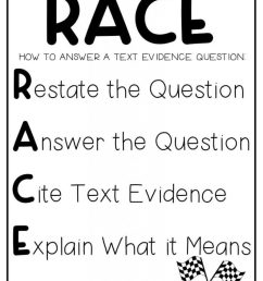 Using the RACE Strategy for Text Evidence – The Teacher Next Door [ 1024 x 791 Pixel ]
