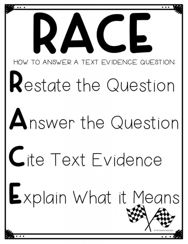 hight resolution of Using the RACE Strategy for Text Evidence – The Teacher Next Door