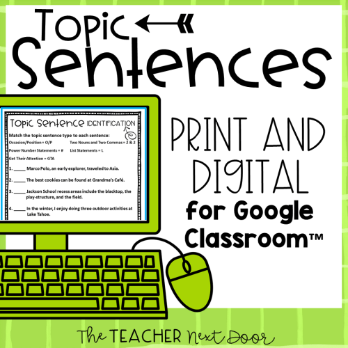 small resolution of Teaching Paragraph Writing: Topic Sentences - The Teacher Next Door