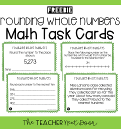 FREE 3rd Grade Rounding Whole Numbers Task Cards - The Teacher Next Door [ 960 x 960 Pixel ]