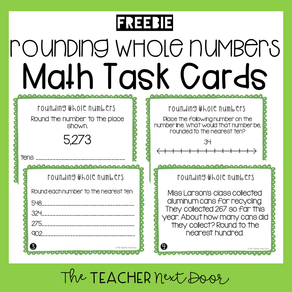 medium resolution of FREE 3rd Grade Rounding Whole Numbers Task Cards - The Teacher Next Door