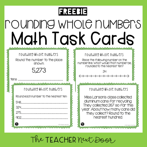 small resolution of FREE 3rd Grade Rounding Whole Numbers Task Cards - The Teacher Next Door