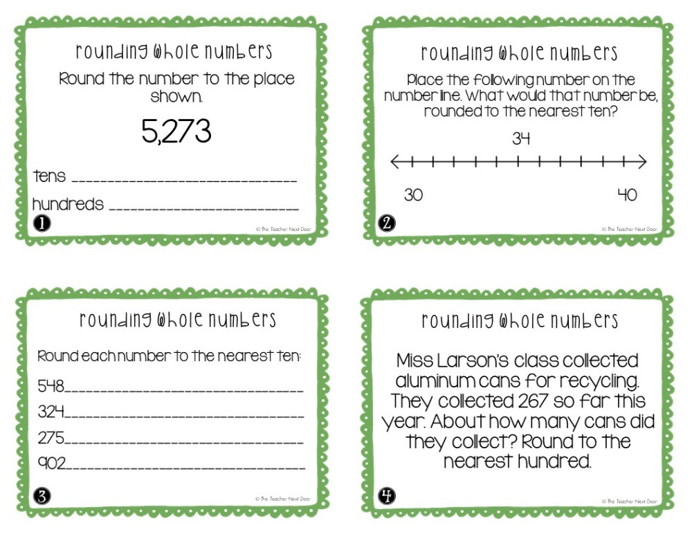 medium resolution of FREE 3rd Grade Rounding Whole Numbers Task Cards – The Teacher Next Door